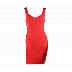 Solid Color Polyester V-Neck Sleeveless Sexy Style Open Back Bandage Dress For Women