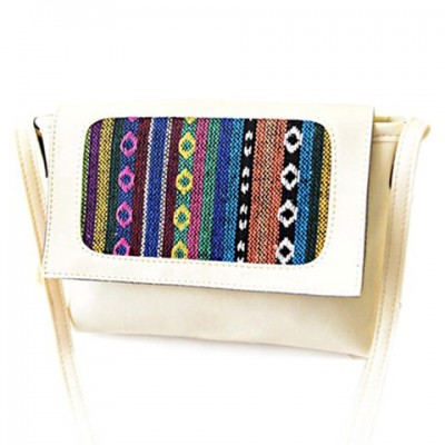 Stylish Women's Crossbody Bag With Knitting and Splice Design