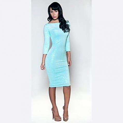 select for original latest trends exclusive shoes Women's Ebay Sexy Club Dress Light Blue Sequined Bind Belt Dresses