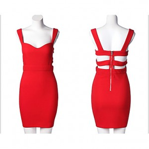 Women's Sexy V Collar Bodycon Dress