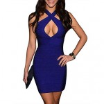 Women's V Neck Crossover Bandage Halter Dress