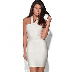 Women's V Neck Crossover Bandage Mini Dress