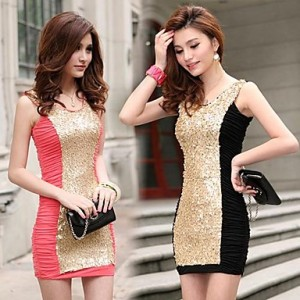 Women Sexy Paillette Round Collar Sleeveless Backless Mini Dress Skirt Party Club Dress 2Colors