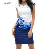 Casual Sleeveless ONeck Print Slim Office Dress Blue Red