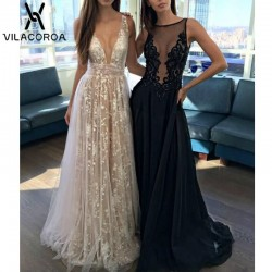 White Perspective Lace V-neck Sequin Floor-Length Maxi Dress Open back Long Dress