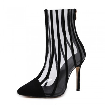 Fashion PVC Transparent Boots Sandals Pointed Toe Thin High Heels Shoes Clear Mujer Women Boots Black Striped Boots Party Shoes
