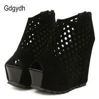 Gdgydh Zipper Platform Wedges Shoes For Women Flock Spring Ladies Party Shoes Fashion Summer Peep Toe Pumps Women Hollow Out