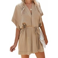 Apricot V Neck Tie Waist Mini Skater T Shirt Dress
