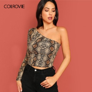 One Shoulder Snake Skin Print Slim Sexy Crop Long Sleeve