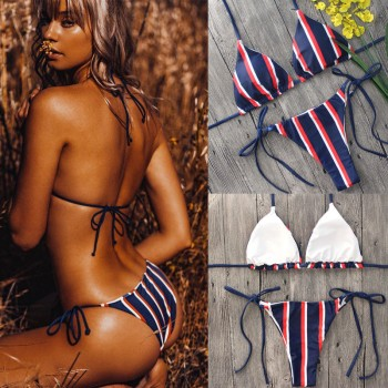 Push-up Low Waist Striped Bikini Set Padded Swimsuit