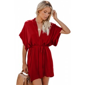 Red V Neck Tie Waist Mini Skater T Shirt Dress