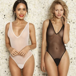 See Through High Cut One Piece Swimsuit Transparent Sheer Milk