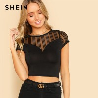 Striped Mesh Sweetheart Crop Tee Black Round Neck Short Sleeve