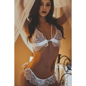 White Eyelash Trim Lace Bralette Set Black