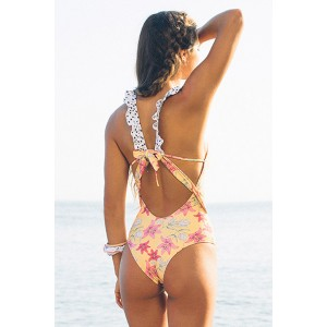 White One-piece Floral Printing Swimsuit Yellow Blue