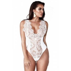 Black Sexy Lace Splicing Deep V Neck Sleeveless Bodysuit White