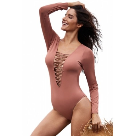 ce0d23d075d Black Sexy Lace up High Cut One Piece Swimsuit Gray Red Pink (Black ...