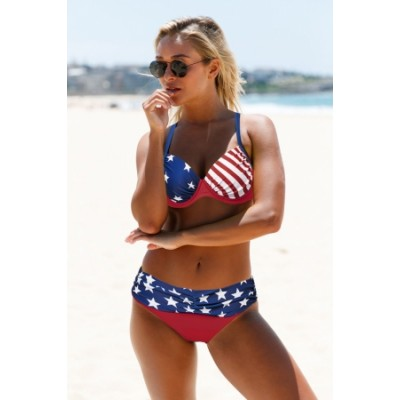 Star and Stripes American Flag Padded Push-up Bikini Set