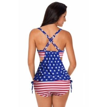 The Patriotic Stars and Stripes Tankini with Swim Trunks