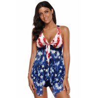 Tie Dye The USA Flag Print Stars and Stripes Halter Tankini