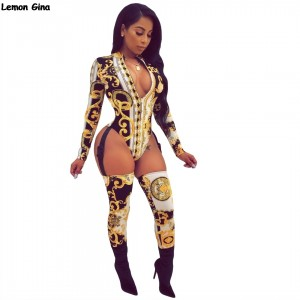 Hollow out zip open long sleeve bodycon club party bodysuit jumpsuits GOLD Pink Blue