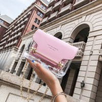 Small Square Shoulder Bag Clear Transparent PU Composite Messenger Bags New Female Handbags