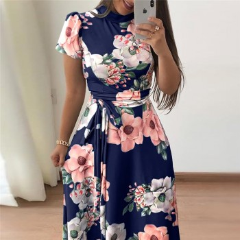 Casual Short Sleeve Long Dress Boho Floral Print Maxi Dress Turtleneck