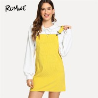 Dungaree Dress With Pocket Summer Yellow Sleeveless Straps Short Dress