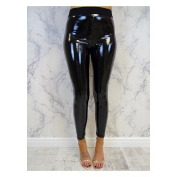 Soft Strethcy Shiny Wet Look Vinyl Leggings Black
