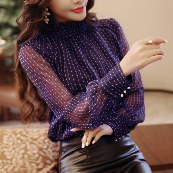 Spring blouse women long sleeved fashion loose Purple