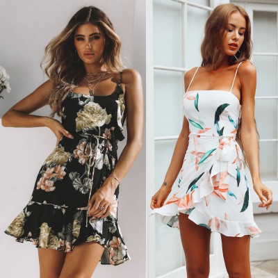 Summer Boho Dress Evening Sleeveless Party Beach Dresses Floral Sundress Black White