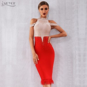 Adyce 2020 New Summer Bandage Dress Women Elegant Red Off Shoulder Sexy Feather Bodycon Club Beading Dress Celebrity Party Dress
