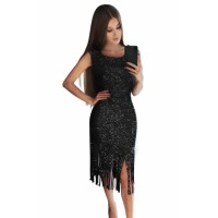 Black Fringe Hemline Convertible Style Sequin Dress Pink Gray Apricot