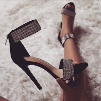 Crystal Heel Sandals Brand Design Sexy Bling Rhinestone High Heel Apricot Black