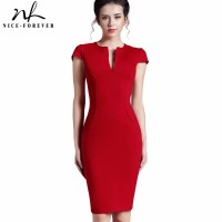 Deep V neck Zipper Back Formal Stretch Pencil work Bodycon Red Pink Blue Black