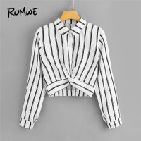 Long Sleeve Ladies Casual Crop Top Half Placket Twist Front Striped Blouse White