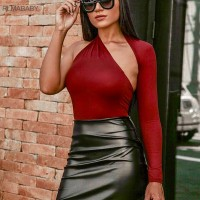 One Shoulder Bodycon Bodysuit Asymmetrical Hollow Out Long Sleeve