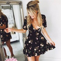 Mini Boho Floral Dress Summer Beach Short Sleeve V neck Black