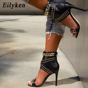 Eilyken 2020 New Rivet Metal Decoration High Heel Women Sandals Cover Heel For Party Gladiator Ladies Shoes Black Size 35-40