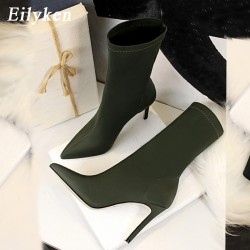 Eilyken 2020 Spring Fashion Women Boots Beige Pointed Toe Elastic Ankle Boots Heels Shoes Autumn Winter Female Socks Boots