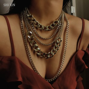 SHIXIN Punk Exaggerated Big Layered Thick Cuban Link Chain Choker Necklace Women Fashion Hippie Modern Night Club Jewelry Gifts