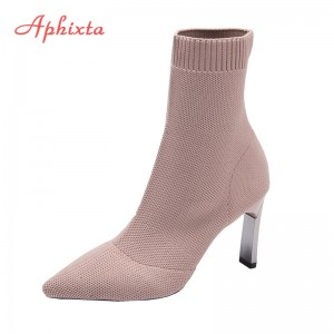 Aphixta Metal Blade Heels Socks Boots Women Stretch Fabric Elastic Stilettos Heel Pointed Toe Ankle Boots Shoes Woman Boats