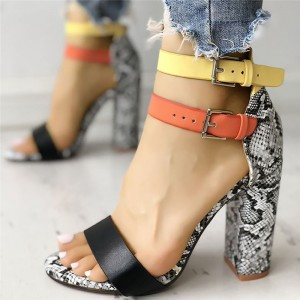 Sandalias Mujer 2019 Women's Ladies Fashion Mixed Colors Snake High Heels Buckle Sandals Casual Shoes