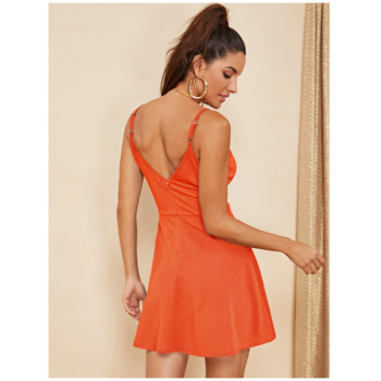 Double V Neck Surplice Cami Dress Maroon Orange Black