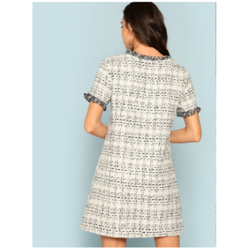 Frayed Edge Pocket Front Tweed Dress White