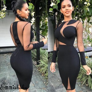 Lady Long Sleeve Bandage Bodycon Casual Solid Party Cocktail Club Short Mini Dress Black