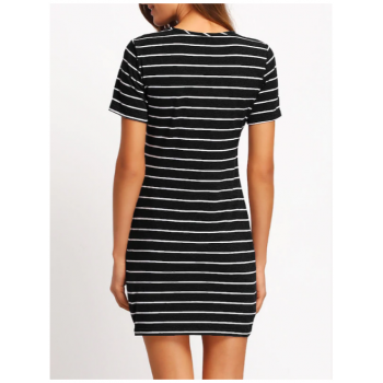 Striped Fitted Tee Dress Black and White