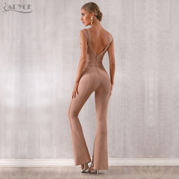 ADYCE 2019 New Summer Women Bandage Jumpsuit Romper Sexy V Neck Backless Sleeveless Long Jumpsuit Celebrity Evening Party Romper