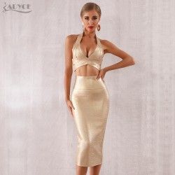 ADYCE 2019 New Summer Women Bodycon Bandage Sets Dress Vestidos 2 Two pieces Set Top Gold V Neck Celebrity Evening Party Dresses