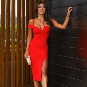 Adyce New Summer Red One Shoulder Bandage Dress Women Sexy Sleeveless Spaghetti Strap Club Celebrity Runway Party Dress Vestidos
